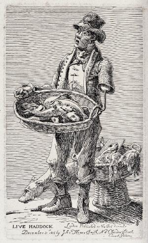 view A man with an artificial arm selling live haddock from a basket he suspends from the hook on his left shoulder. Etching by J.T. Smith, 1815.