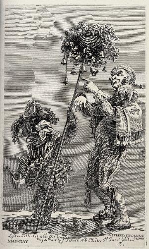 view Two performing street entertainers carrying bells and performing on the street. Etching by J.T. Smith, 1816.