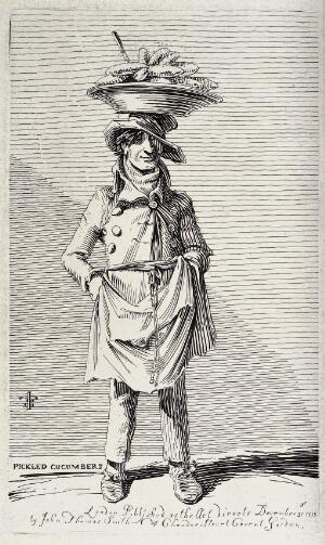 view An itinerant salesman selling pickled cucumbers from a large plate he balances on his head. Etching by J.T. Smith, 1815.