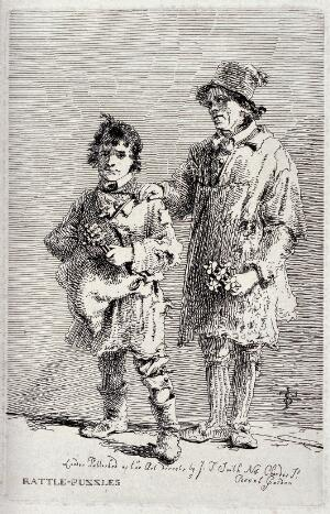 view Two itinerant salesmen selling rattles and rattle boxes. Etching by J.T. Smith, ca. 1815.