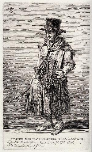 view An itinerant salesman in ragged clothes selling toasting forks, files, skewers and other implements. Etching by J.T. Smith, 1815.