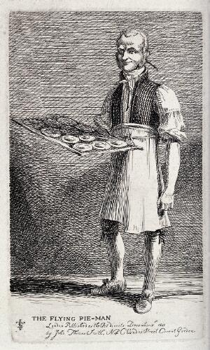 view An itinerant salesman holding a tray with freshly baked pies. Etching by J.T. Smith, 1815.