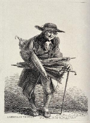 view An old itinerant salesman offering the repair of defect umbrellas. Etching by J.T. Smith, 1816.