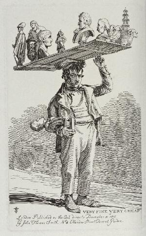 view An itinerant salesman selling reproductions of antique and modern sculptures from a timber board he balances on his head. Etching by J.T. Smith, 1815.