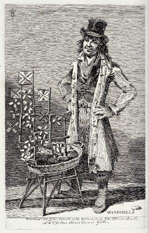 view An itinerant salesman selling miniature windmills from a wicker basket before him. Etching by J.T. Smith, 1815.