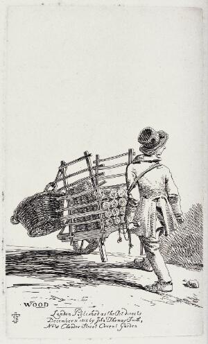 view An itinerant salesman pushing the cart from which he sells wood logs. Etching by J.T. Smith, 1815.
