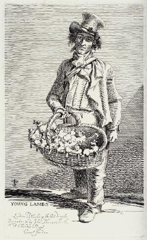 view An itinerant salesman selling small woollen toys from a wicker baket. Etching by J.T. Smith, 1815.
