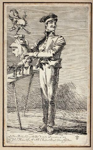 view An itinerant salesman selling small reproductions of antique and modern sculptures. Etching by J.T. Smith, 1815.