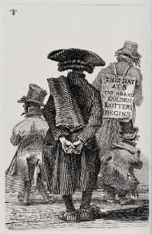 view A man is shown from behind reading a sandwich board attached to the back of the man in front of him, advertising a lottery. Etching by J.T. Smith, 1816.