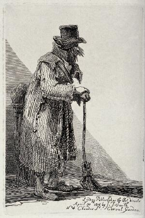view An old man in tattered clothes leaning on a broom for support. Etching by J.T. Smith, 1816.