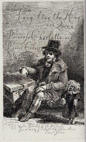 view A street entertainer holding his performing poodle on a leash. Etching by J.T. Smith, 1816.