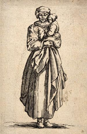 view A woman wearing a ruff carrying a small child in her arms. Engraving with etching.
