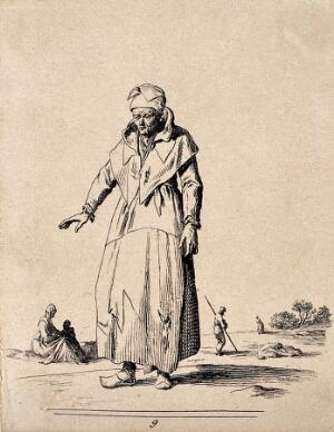 view A man in ragged clothing. Etching by Jean Duplessi-Bertaux.