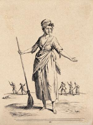 view A young women has her arms outstretched holding a broom. Etching by Jean Duplessi-Bertaux.