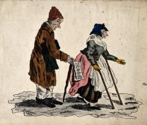 view A man with a stick selling song-sheets is accompanied by a woman moving with the aid of two crutches. Coloured etching by Lapbame, 1820.
