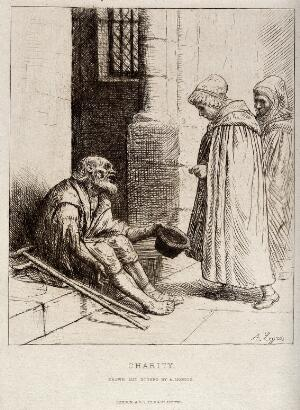view An old man with two crutches is sitting on the steps of a church begging for alms from two women entering the church. Etching by A. Legros.