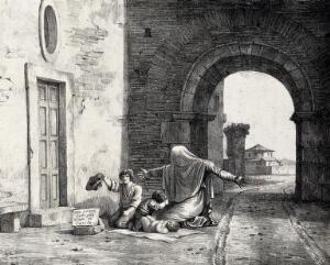view A woman begging with three children, one of them a naked infant, under the arch of a town-wall. Lithograph.