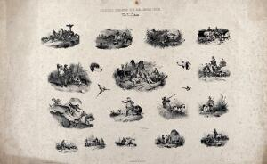 view The pleasures of hunting illustrated in sixteen sketches showing hunting scenes interspersed with images of dogs and fowl. Chalk lithograph after V. J. Adam.