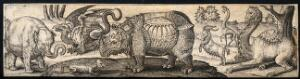 view An elephant, a dragon, a reptile, a rhinoceros, a goat and two giraffes. Engraving by A. de Bruyn.