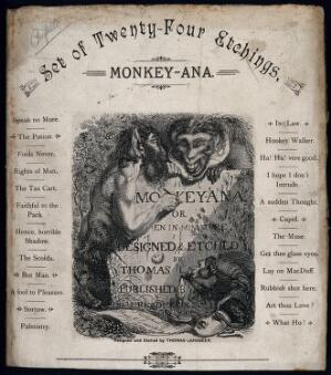 view A monkey in human dress is leaning on a stone which a satyr is engraving into. Etching by T. Landseer, 1827.