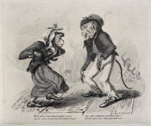 view A monkey sailor and a female monkey, both dressed in human clothing, standing on a dance floor. Etching by T. Landseer, 1827.
