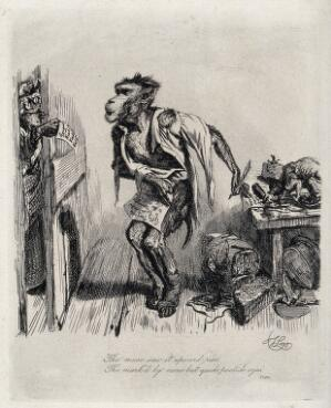 view A monkey poet, in arrears with his rent, is embarrassed when his landlady opens the door to present him with bills. Etching by T. Landseer, 1828.