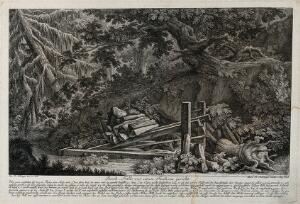 view A fox-trap in the forest: a dead fox in a trap which kills by releasing weights on to the victim. Etching by M.E. Ridinger after J.E. Ridinger.
