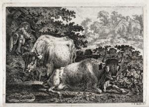 view Two cows resting by a woodland pool as a boy pipes in the tree above. Etching by C.-W. Kolbe, the elder.