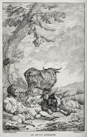 view A shepherd boy piping to sheep, goats and cows which are grouped around him. Engraving by Nandet after P. J. Loutherbourg.