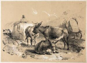 view Three donkeys resting by a cart. Lithograph with gouache by A. Ducote.