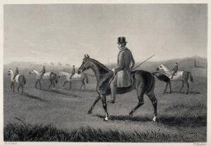 view A group of riders with their horses on a meadow. Etching by E. Hacker after E. Corbet.