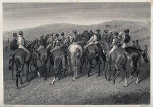 view A group of jockeys with their horses standing in a crowd at the starting line. Etching by E. Hacker after E. Corbet.