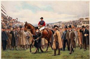 view A jockey is lead through a cheering crowd by a man in a top hat holding the horse by its reins. Chromolithograph after J. S. Wells.
