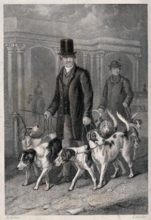 view A man in a top hat walking his dogs. Etching by E. Hacker after E. Corbet.