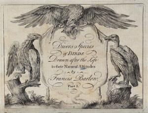view A title page illustrated with two eagles and a vulture holding a sheep's skin between them. Engraving, ca. 1690, after F. Barlow.