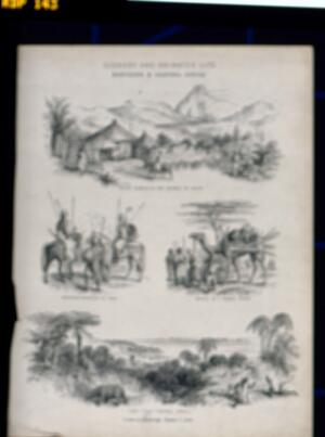 view Northern and central Africa: indigenous peoples, landscapes and animals. Lithograph.