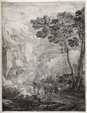 view Two mules laden with barrels walking along a mountain path with their drover at a distance behind them. Etching by J. D. Both.