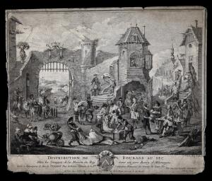 view Soldiers and civilians foraging food inside the town fortifications. Etching by J. P. Le Bas after J.-F. Chanterau.