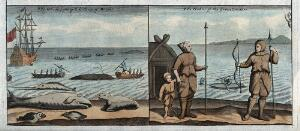 view Greenland: fishermen spearing whales from the safety of their boats; right, whale fisher in their attire. Coloured etching.
