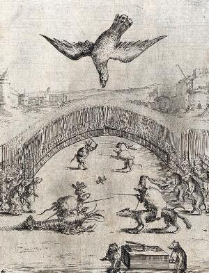view A battle between frogs and mice (Batrachomyomachia): a kite descends and kills the combatants. Etching.