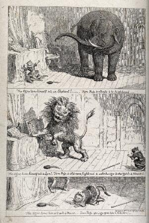 view Three scenes from the adventures of Tom Puss. Reproduction of an etching by G. Cruikshank.