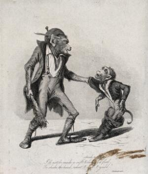 view A large monkey dressed in rags is about to beat a smaller monkey with a bundle of brushwood. Etching by T. Landseer, 1827.