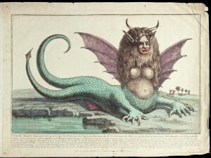 """view The """"Peruvian harpy"""": a harpy with two tails, horns, fangs, winged ears, and long wavy hair. Coloured etching."""