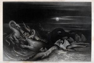 view A nocturnal scene with saurians and sea-creatures fighting each other in the water. Mezzotint by J. Martin.