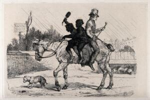 view Two young chimney sweeps on a decrepit horse, in a yard; a man is seated behind them, facing backwards. Etching after E.H. Landseer, ca. 1848.