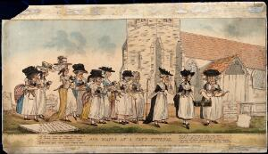 view A funeral procession of elderly women with cats in their arms, following the coffin of a dead cat, in a churchyard. Coloured stipple engraving by J. Pettit after E.G. Byron, 10 April 1789.