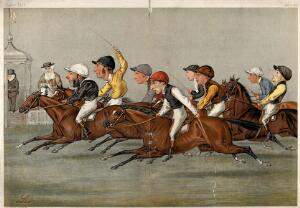 view The finishing line at a horse race; ten portrait caricatures, including eight of famous jockeys. Colour lithograph after L. Prosperi, 1888.