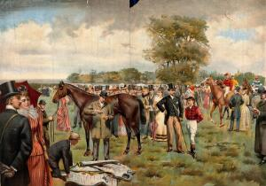 view Epsom, Surrey: the Derby; crowds of racegoers viewing the horses' form in the paddock. Colour lithograph after I. Cullin, 1892.