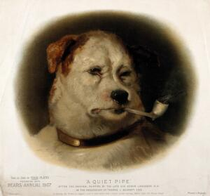 view A dog smoking a pipe, with 'Pears' inscribed on his collar. Chromolithograph after E. Landseer.