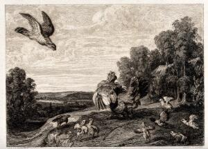 view Battling fowl: birds of various sizes are shown fighting, while a bird of prey swoops towards a chicken. Etching by W. Unger after F. Snyders, 1800/1850?